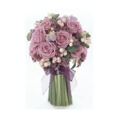 Hand-tied bouquet of 'Cool Water' roses, snowberries, purpureums and lisianthus