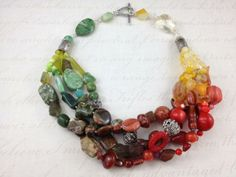 multistrand gemstones, green to yellow to red and sterling silver theworldrockssite.com