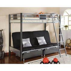 Furniture of America Dasonia Twin Over Futon Metal Bunk Bed, Silver/Gunmetal, Multicolor