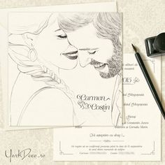 Invitatie de nunta la comanda cu portretul desenat al mirilor   YorkDeco - Atelier Invitatii Nunta Originale si Unicat Photo Wedding Invitations, Female, Wedding Ideas, Weddings, Art, Atelier, Simple Lines, Craft Art, Bodas