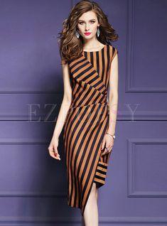 O-neck Sleeveless Waist Asymmetric Sheath Dress Model Dress Batik, Batik Dress, Lace Dress, Summer Dresses For Women, Ladies Dresses, Kebaya Dress, Batik Fashion, Fancy Tops, Daily Dress