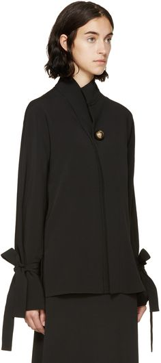 Marni: Black Accent Button Blouse | SSENSE sleeve tie detail