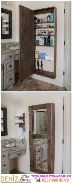DIY Bathroom mirror storage case that holds everything. - 17 Repurposed DIY Bathroom Storage Solutions-- --not for just the bathroom.