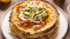 Beef Quesadilla Cake- try this with corn tortillas or protein wraps ... something healthier than wheat.