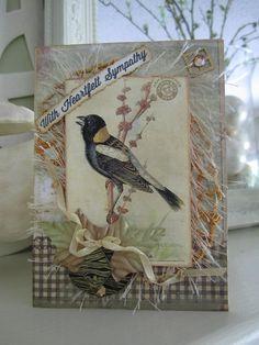 Sympathy Card  Handmade Card  With Sympathy  Vintage by AvantCarde, $7.30