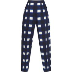Marni High Waisted Checkered Trousers (6.695 BRL) ❤ liked on Polyvore featuring pants, navy pants, side zip pants, marni, high-waisted trousers and high-waist trousers