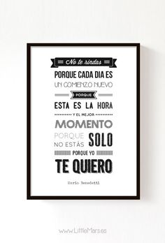 Typograhic Quote Print - Mario Benedetti Quote - A4 Print