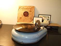 Blue vintage teardrop phonograph