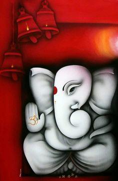 artist: Prakash K. Ganpati Drawing, Ganesha Drawing, Lord Ganesha Paintings, Ganesha Art, Krishna Painting, Krishna Art, Hindus, Shree Ganesh, Rangoli Designs Diwali