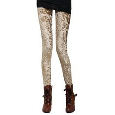 Zacoo Women's Bodycon Velvet Leggings Size S Gold