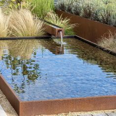 Channelling the Spirit of the Countryside 💦 Corten steel reflecting pond and spillway in a recently completed Kent country garden 💦 The… Outdoor Water Features, Water Features In The Garden, Modern Water Feature, Modern Landscaping, Backyard Landscaping, Ponds Backyard, Backyard Waterfalls, Garden Ponds, Koi Ponds