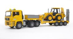 Bruder Toys Man TGA Low Loader Truck With JCB Backhoe Loader $75.89