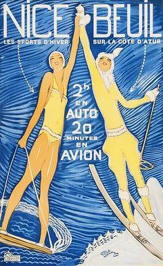 ✨ Jean-Gabriel DOMERGUE (1889-1962)-  NICE-BEUIL, lithograph in colours, c.1930, Moullot, Paris