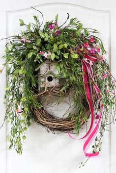 Country Summer Wreath Front Door Wreath Spring by FloralsFromHome. Like the birdhouse. Wreath Crafts, Diy Wreath, Mesh Wreaths, Wreaths For Front Door, Grapevine Wreath, Wreath Ideas, Yarn Wreaths, Tulle Wreath, Floral Wreaths