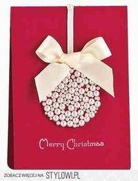 Kartka świąteczna - bombka z perełek