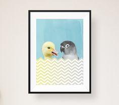"""Wandbild – Designposter """"Ente & Papagei"""" von 111 Dinge von anneandrea. auf DaWanda.com"""