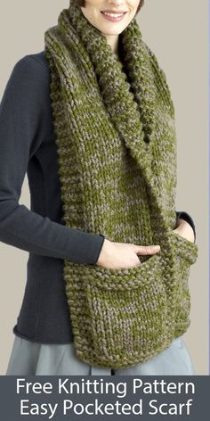Free Knitting Pattern for Easy Pocketed Scarf in Super Bulky Yarn - Stricken ist. Free Knitting Pattern for Easy Pocketed Scarf in Super Bulky Yarn – Stricken ist so einfach wie 1 Easy Knitting Projects, Easy Knitting Patterns, Knitting For Beginners, Loom Knitting, Knitting Stitches, Free Knitting, Knitting Scarves, Vintage Knitting, Knitting Needles
