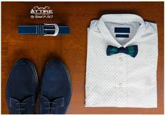 White polka-dot shirt with bow tie, blue belt and matching shoes from Attire by Kunal & Sid J is the look of the day.😍  #Attire #lookbook #Fashion #mensfashion