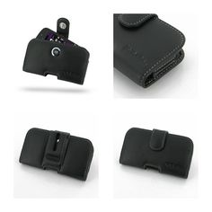 PDair Leather Case for BlackBerry Q10 - Horizontal Pouch Type (Black)