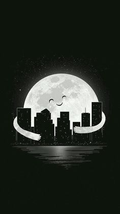 """""""Good Night"""" is now up for sale at Threadless Kids! for Lil Girly Tees Buy it here:[link] Good Night Black Wallpaper, Screen Wallpaper, Galaxy Wallpaper, Wallpaper Backgrounds, Wallpaper Wallpapers, Pub Vintage, Moon Art, Stars And Moon, Cute Wallpapers"""