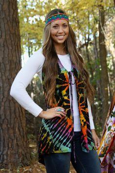 Groovy & Gorgeous - Peace & Love Tie Dye Vest