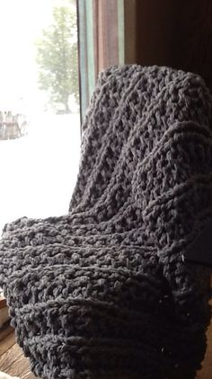 My first extreme knitting project! Chunky knit blanket