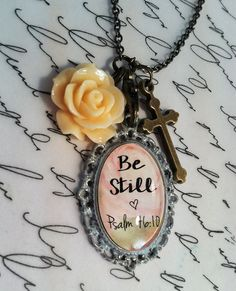 Be Still Necklace: w/resin flower & cross by RachelsOriginalGifts ~ Jewelry So Adorable It's ADORNable TO ORDER: Please visit my FB and/or Etsy pages at the following links! www.facebook.com/RachelsOriginals www.rachelsoriginalgifts.etsy.com