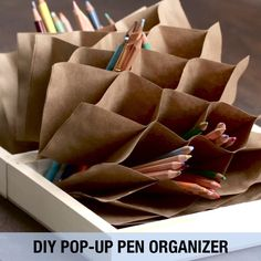 DIY Folding Pen Organizer Tutorial — Great pen organizer for travelling, scrapbooking, journaling, etc. Fun Crafts, Diy And Crafts, Crafts For Kids, Paper Crafts, Diy Paper, Paper Art, Pencil Organizer, Organizers, Handbag Organizer