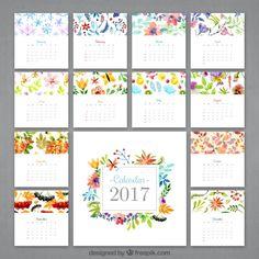 Florido calendario de 2017 de acuarela  Vector Gratis
