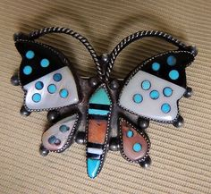 Zuni Beautiful Attr Leo Poblano Butterfly Pin Dotted Mosaic Inlay Superb 1940s-*-*-bin850