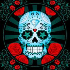 Vintage Blue Sugar Skull with Roses Poster Tile Skull Carpet, Skulls And Roses, Mardi Gras, Decorating Your Home, Tiles, Gothic, Ceramics, Sugar Skulls, Fantasy