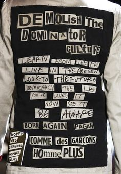 Clothing comme des garcons - Interesting that the brand is calling for demolishing the dominator culture while selling funky clothes costing big bucks. Yeah, kinda like socialist feminists craving fashion. Contradictions abound. http://www.lyst.com/comme-des-garcons/