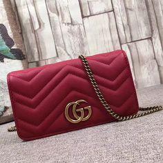 1ba1d22fa4b3 GG Marmont Mini Shoulder Bag Red 488426 Fendi Bags, Gucci Purses, Purses  2017,