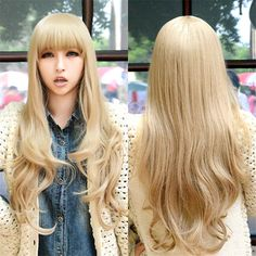 fashion women wigs natural heat resistant synthetic wigs with bangs long curly blonde wig ombre pastel wig cosplay blond hair