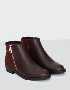 4c38ccbcda1 Pull Bear - shoes - new products - ankle boots with zip - burgundy…