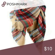 """Flash Sale! Blanket Scarf, Plaid Blanket Scarf, Flash Sale! Super soft and cozy! Brand new. Very large. Length: 58"""", Width: 58"""". 100% acrylic. Item is already on sale. Price is firm unless bundled. Thank you. Accessories Scarves & Wraps"""