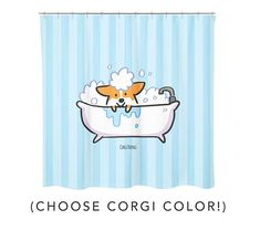 """Will this cute shower curtain make bathtime more fun for your pups? :) - 100% Polyester Water Repellent Fabric - Size 70 x 72 - Top seam 2 ½"""" w/ 12 button hole slots for rings (SHOWER RINGS NOT INCLUDED) - Design printed on front only, backside is white - Customize corgi color - Made to"""