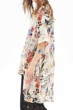 Collarless Floral Print Chiffon Blouse