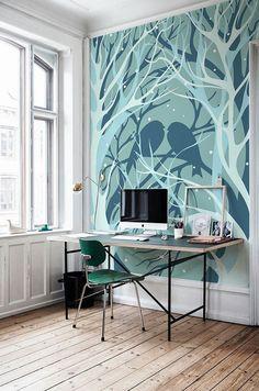 birds and trees wall mural #wallpaper #wallart