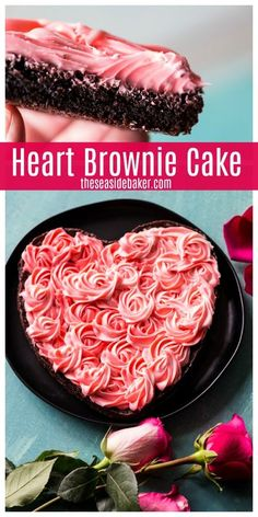 Nothing says Valentine's Day like hearts, chocolate and roses. And this stunning Heart Brownie Cake combines all three. It's rich, decadent and definitely chocolately. The beautiful rose-inspired cream cheese frosting only looks complicated; it's actually quite easy to do! #ValentinesDayDessert #Chocolaterecipes #brownies Mocha Cheesecake, Low Carb Cheesecake, Raspberry Cheesecake, Keto Pumpkin Pie, Pumpkin Custard, Valentine Desserts, Valentines Baking, Valentine Treats, Holiday Desserts