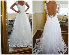 """A-line+Lace+Low+Back+Chapel+Train+Wedding+Dress,lace+wedding+dresses  Halter+beading+sleeveless+bodice+satin+pocket+beall+gown+prom+dress,evening+dresses  Processing+time:+15-35+business+days+ Shipping+Time:+3-5+business+days  """"Fabric:Organza Hemline/Train:Chapel+Train Back+Detail:+Low+B..."""