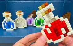 Fantastic Minecraft decoration ideas: make potions, food, etc, out of lego blocks and set around the room! I love the idea of Minecraft decor.