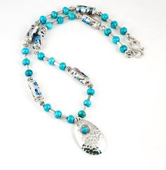 Sterling Silver Pendant/ Turquoise Necklace by LLDArtisticJewelry, $175.00