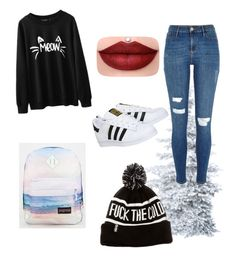 """""""Untitled #5"""" by sofiatfranco on Polyvore featuring River Island, adidas and JanSport"""