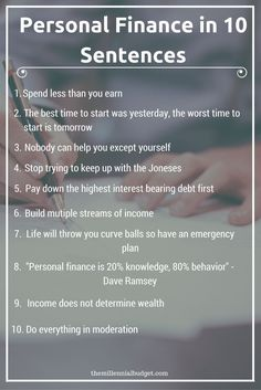 Personal Finance in 10 Sentences | Personal finance is so simple it can be broken down into 10 sentences. If you would like to better your financial situation and exit the rat race early, click through to the post to learn more about these sentences!