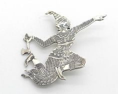 Antique Sterling Silver & Niello Enamel Brooch, Ramasoon God of Thunder 1930s Siam Collectible Jewelry, Asian Art Deco at VintageArtAndCraft