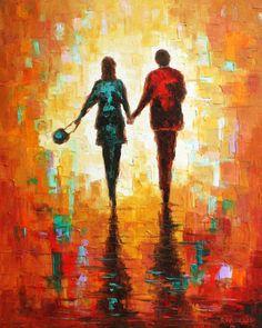 "R Virbickas Original Modern Impressionistic Painting on Canvas ""Couple"" | eBay"