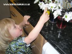 """Science Experiment for kids from toddlers upwards exploring """"how plants drink"""" so easy to set up and with beautiful results as well"""