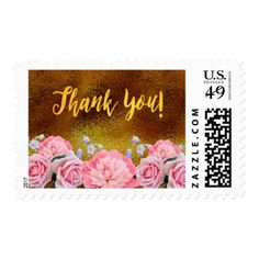 thank you pink flowers roses peony on faux gold postage wedding shower gifts party ideas