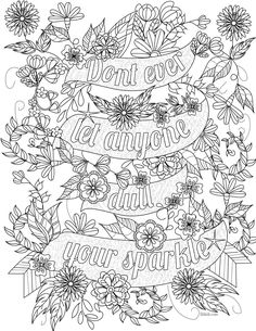 Free inspirational quote adult coloring book image from LiltKids.com! See more…